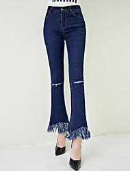 знак 2017 весной новый высокой упругой кисточкой отверстие джинсовой клеш ретро был тонкий колготки женщина