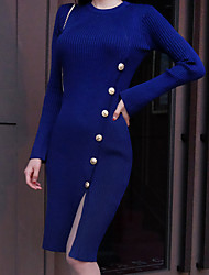 New election Slim was thin knit sweater OL female long section of the Korean version of package hip long-sleeved winter dress