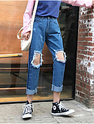 Sign Korean loose wide leg jeans female beggar bf nine holes wind waist straight jeans student