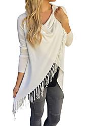 Damen Solide Sexy Street Schick Lässig/Alltäglich Urlaub T-shirt,Kapuze Frühling Sommer Langarm Baumwolle Polyester Dünn