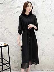 2017 Korean version of large size women long section Slim stylish long-sleeved chiffon dress women dress