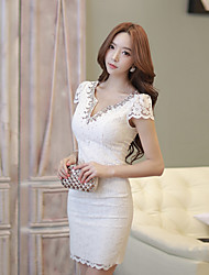 2017 summer new Women Korean series sexy ladies beaded lace V-neck Slim dress Spot