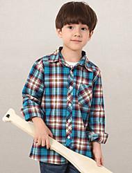 Casual/Daily Plaid Shirt,Cotton Summer Spring