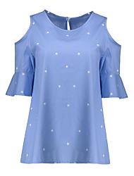 Damen Galaxis Einfach Lässig/Alltäglich Übergröße T-shirt,Rundhalsausschnitt Sommer Kurzarm Baumwolle Kunstseide Dünn