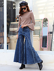 Real shot wide leg pants female Korean autumn and winter was thin waist jeans casual trousers flared trousers Bigfoot flash