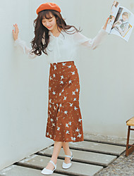 Sign in spring 2017 Korean version of the retro floral flowers elastic waist flounced skirts