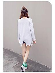 Sinal 2017 primavera nova versão coreana do algodão de bambu de algodão irregular hem camisa feminina cartoon tumi qi