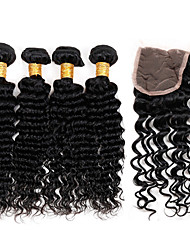 Vinsteen Grade 8A Virgin Brazilian Human Hair Extensions Deep Wave 4 Bundles with 4*4 Lace Closure MoreThicker Hair Natural Color Soft Smooth