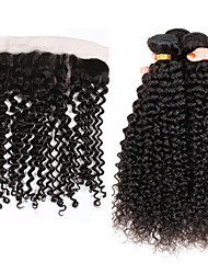 Vinsteen Peruvian Kinky Curly 3Pcs With 13x4 Lace Frontal Closure Ear To Ear Lace Frontal Closure With Bundles Natural Black Color Dyeable