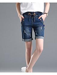 Femme simple Taille Haute Extensible Jeans Short Pantalon,Ample Couleur Pleine