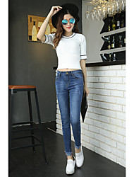 2017 spring models Slim waist stretch pants feet pencil personality pull nine points jeans feet pants students