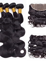 Vinsteen Malaysian Hair Body Wave 4 Bundles with 13x4 Inch Ear to Ear Lace Frontal Closure 8A Unprocessed Malaysian Virgin Hair Natural Black Dyeable