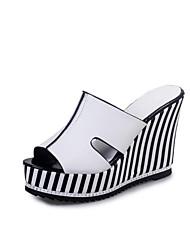 Damen-Sandalen-Lässig-PU-Keilabsatz-Komfort-Weiß Schwarz