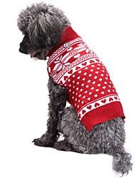 Коты Собаки Плащи Свитера Одежда для собак Зима Весна/осень В снежинку Милые Мода Рождество Красный