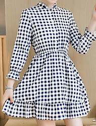 2017 Sign new Korean large size plaid long-sleeved dress was thin Slim printing bottoming dress women