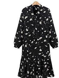 Для женщин На выход Простое Свободный силуэт Платье Цветочный принт,V-образный вырез Средней длины Длинный рукав Полиэстер ЛетоС низкой