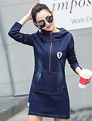 Sign 2017 spring new women hooded long-sleeved denim skirt Slim package hip stretch dress decorated