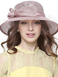 Women's summer flax yarn dome sun hat big hat England noble party hat fashion gauze big bowknot