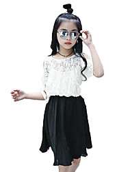 Girl's Beach Solid Floral Dress,Polyester Summer Half Sleeve