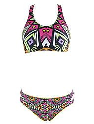 Bikinis Aux femmes Géometrique Rubans Licou Acrylique Spandex