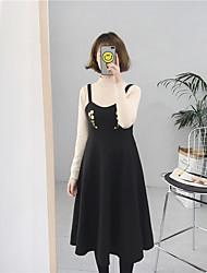 Sign # woolen dress embroidered waist big swing dress in harness