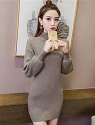 firmare la versione coreana del vestito maglia a mezza altezza pullover collar e lunghi tratti pipistrello lanterna lotta camicia a