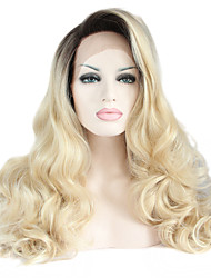 sylvia laço sintético frente peruca Black Roots cabelo loiro cabelo calor ombre resistentes longa onda natural, perucas sintéticas