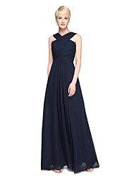 A-Line V-neck Ankle Length Chiffon Bridesmaid Dress with Pleats by LAN TING BRIDE®