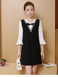 A nova primavera de 2017 e outono coreano mulheres em torno do pescoço falso duas uma palavra era vestido fino