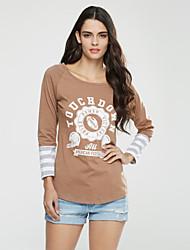 Damen Druck Einfach / Street Schick Lässig/Alltäglich T-shirt,Rundhalsausschnitt Frühling / Herbst Langarm Gelb Polyester Mittel