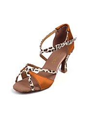 Women's Dance Shoes Latin Sandals dance shoes  ladies Girls Cuban Heel 5/7Brown Bluer(215) Customizable