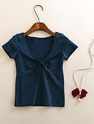 Damen Solide Sexy Ausgehen T-shirt,V-Ausschnitt Kurzarm Baumwolle