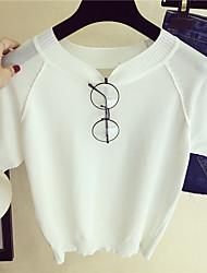 Damen Solide Einfach Lässig/Alltäglich T-shirt,Rundhalsausschnitt Kurzarm Elasthan Dünn