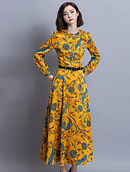 Sign palace 2017 Print Long dress ladies temperament Slim retro dress big swing skirts