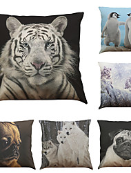 Set of 6 Snow Leopard Lion  Pattern  Linen Pillowcase Sofa Home Decor Cushion Cover (18*18inch)