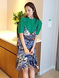 Departamento de coreia meninas engraçadas fita floral cores irregulares saia mancha