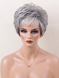 Ombre Blends Human Hair Wig Fluffy Short Layered Wavy Grey Capless Cap Wig For Women 2017