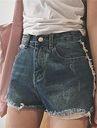 Signer l'été nouvelle personnalité sauvage côté bordure rayures trou denim shorts femme nett