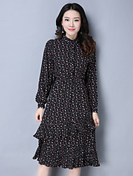 Sign in spring 2017 retro collar long-sleeved floral dress pleated chiffon cake skirt OL temperament