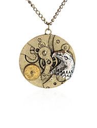 Vintage Round Pendant Necklace Gear Charm Steampunk Necklaces-Eagle Head Coin