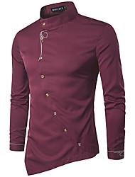Herren Einfarbig Stickerei Retro Einfach Arbeit Party/Cocktail Hemd,Hemdkragen Alle Saisons Langarm Seide Baumwolle Kunstseide Dünn
