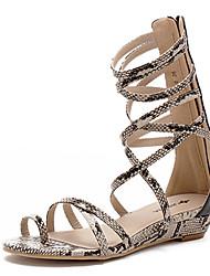 Damen-Sandalen-Kleid-PU-Flacher Absatz-Gladiator-Weiß Schwarz Mandelfarben