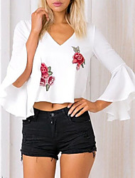 Women's Casual/Daily Simple Spring Fall Blouse,Embroidered V Neck Sleeveless Cotton Medium