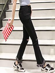 Femme simple Chinoiserie Taille Normale Extensible Jeans Pantalon,Boot Cut Déchiré Couleur Pleine