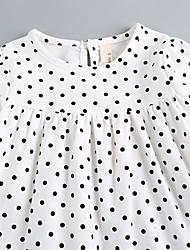 Menina casual / diária sólida polka dot vestir meia manga
