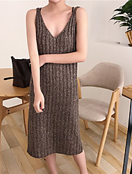 Sign thin strip pit deep V skirt wool knit camisole dress