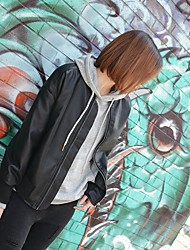 Women's Going out Sexy Vintage Spring Leather Jacket,Solid Round Neck Long Sleeve Short Cotton Others