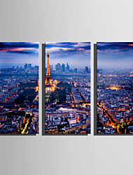 E-HOME Stretched Canvas Art Night View of Paris Decoration Painting Set Of 3