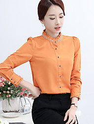 Signe 2017 printemps nouvelle femme coréenne oreille en bois un petit col chemise à manches longues femme