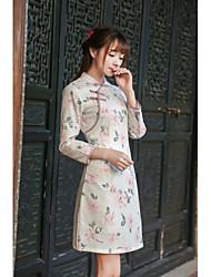 знак 2016 год сбора винограда женщин&# 39, S осенних новая литературная тонкая печатные юбки платья кружева Cheongsam